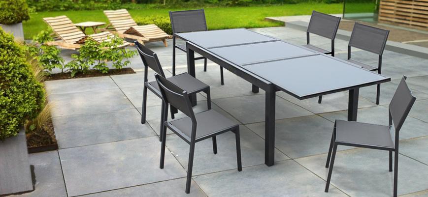 Alabama                   -                   Extendible garden table 150/210cm in aluminium and grey textilene