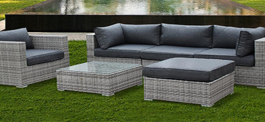 Caligari                   -                   5-seater garden sofa set, mixed grey