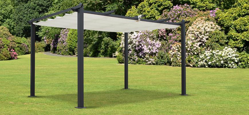 Condate 3x4m                   -                   Condate: Aluminium pergola 3x4m with retractable canopy, off-white