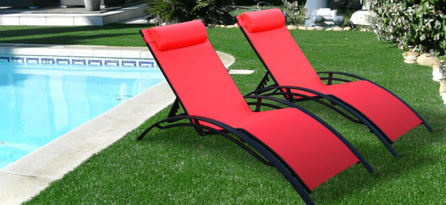 Louisa x2                   -                   2 Aluminium and textilene sun loungers, anthracite / coral red