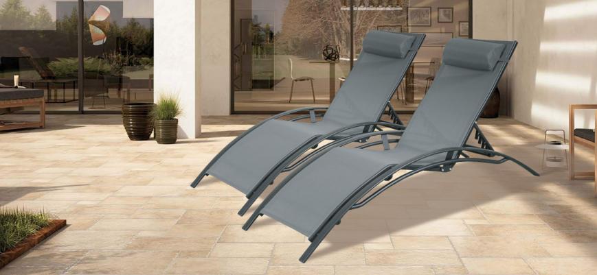 Louisa x2                   -                   2 x Louisa aluminium and textilene loungers, black