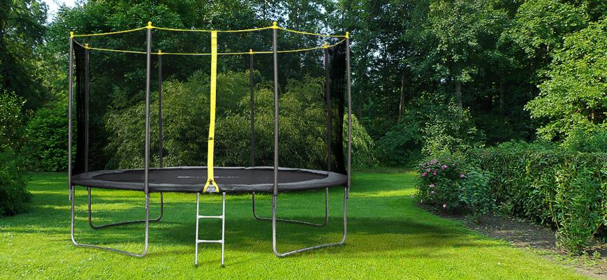 Okapi                   -                   12ft trampoline, safety enclosure, ladder and protective cover. Reinforced frame. Max user weight: 150kg / 330lbs.