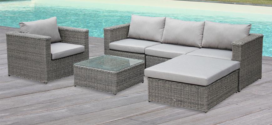 Romini                   -                   Romini: 5-seater round rattan garden sofa set, grey / beige