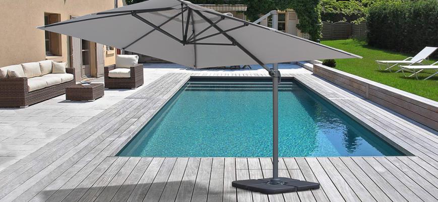 St Jean de Luz                   -                   Saint Jean de Luz: Rectangular cantilever parasol, 3x4m, light grey