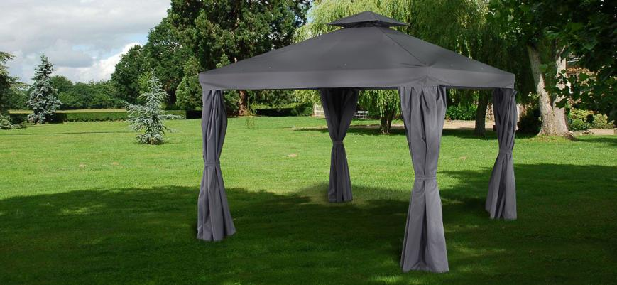 Tolosa                   -                   Gazebo with curtains, grey