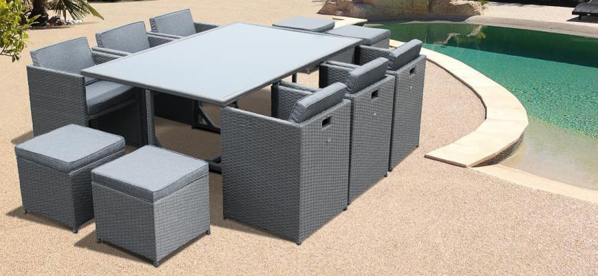 Vasto 10                   -                   Vasto 10: 10-seater rattan garden table and chair set, grey / charcoal grey