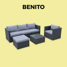 BENITO                                                                                                                                                      - Mueble de jardin, conjunto sofa de exterior, Negro Gris, 5 plazas