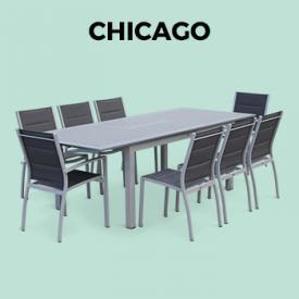 CHICAGO                                                                                                                                                      - Mesa de jardin, Conjunto para exterior, Gris Antracita, 8 plazas
