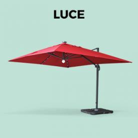 luce                                                                                                                                                      - Sombrilla jardín, Parasol excéntrico cuadrado, LED, Rojo, 300x400 cm