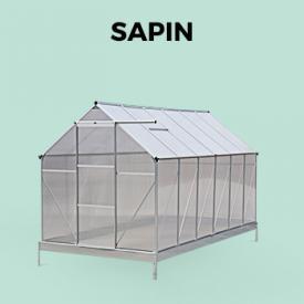 SAPIN                                                                                                                                                      - Invernadero de policarbonato verde de 7 m² con base, 2 claraboyas de techo - Sapin