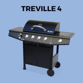 TREVILLE 4                                                                                                                                                      - Barbacoa de gas -Treville 4 color negro- 4 quemadores + 1 fuego lateral, con termómetro