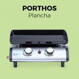 Barbecues Chauffages                                                                                                                                                      - Plancha au gaz Porthos 2 brûleurs 5 kW barbecue cuisine extérieure plaque émaillée inox