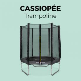 Jeux plein air                                                                                                                                                      - Trampoline Ø180cm - Cassiopée gris avec son filet de protection - Trampoline de jardin 2m