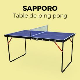 Jeux plein air                                                                                                                                                      - Mini table de ping pong pliable INDOOR Sapporo bleue, avec 2 raquettes et 3 balles, tennis de table