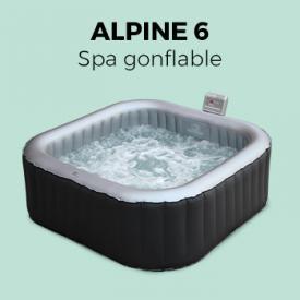 Alpine 6                                                                                                                                                      - Spa 185cm 6 personnes gonflable carré Alpine 6 Lite, Jacuzzi MSPA, avec accessoires