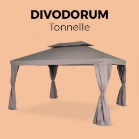 Divodorum                                                                                                                                                      - Pergola aluminium 3x4m Divodorum taupe, avec rideaux coulissants, tonnelle, tente de jardin, abri de terrasse