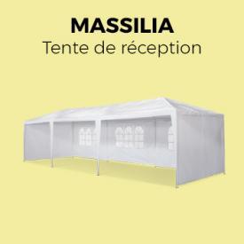Massilia                                                                                                                                                      - Tente de réception 3x9m Massilia toile blanche - 27 m² - pergola barnum tonnelle chapiteau tente de jardin