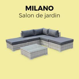 Milano                                                                                                                                                      - Salon de jardin en résine tressée nuances de gris 7 places canapé d'angle et table basse