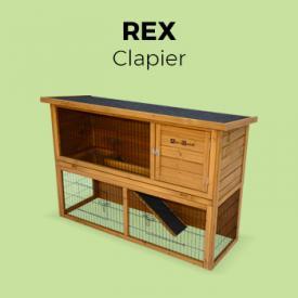 REX                                                                                                                                                      - Clapier en bois REX pour lapin et autres rongeurs, 4 lapins, cage à lapin avec enclos, espace intérieur / extérieur