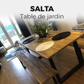 SALTA                                                                                                                                                      - Table de jardin en bois 180cm avec 2 bancs – SALTA – esprit industriel, 6 personnes