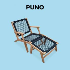 Tuinsets en meubelen                                                                                                                                                      - Relaxstoel – PUNO – FSC Eucalyptus, zwart touw, met voetsteun