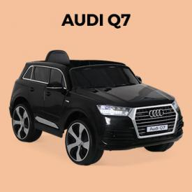Buiten speeltoestellen                                                                                                                                                      - AUDI Q7 Zwart, elektrische auto 12V, 1 plaats, 4x4 voor kinderen met autoradio en afstandsbediening